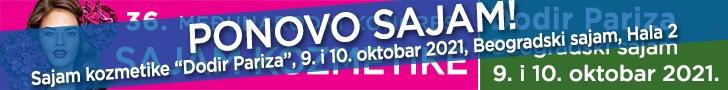 Beogradski Sajam kozmetike Dodir Pariza, 9. i 10. oktobar 2021. godine, beogradski sajam, Hala 2